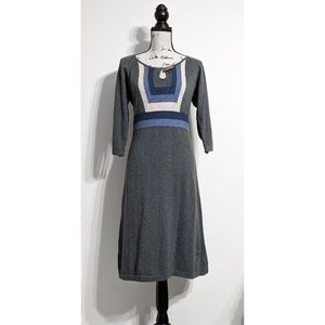 Gray and Blue Knit Sweater Dress